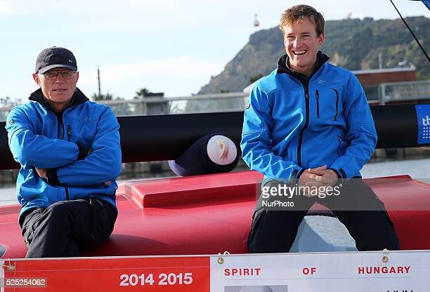 Nador Fa and Conrad Colman in the welcome the skippers of the Barcelona World Race 2014/2015 held at the Portal de la Pau in Barcelona on December 16...