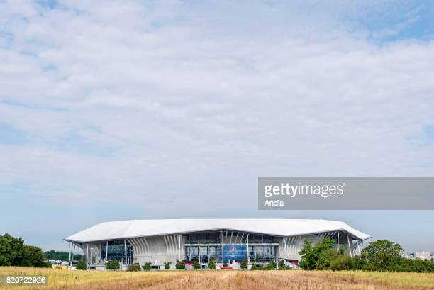 DecinesCharpieu close to Lyon the 'Grand stade' a new 59000seat stadium for French football club Olympique Lyonnais with the colours of the Euro UEFA...
