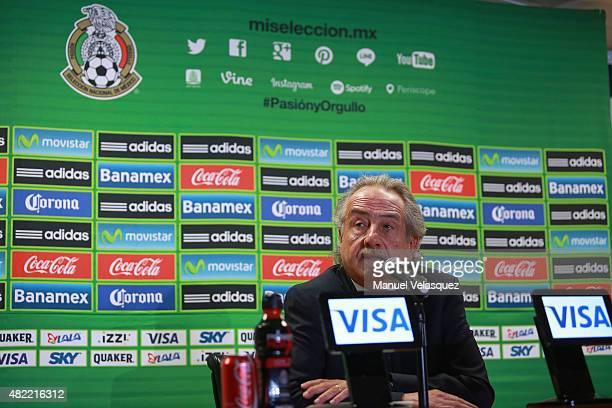 Decio de Maria newely elected president of FEMEXFUT speaks during a press conference to announce the dismissal of Miguel Herrera as head coach of...