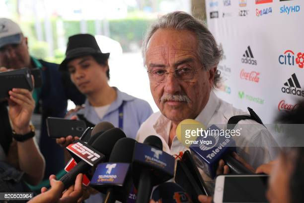 Decio De Maria president of the FEMEXFUT speaks to the media during the arrival of the Mexico National Team at Belamar Hotel on July 21 2017 in Los...