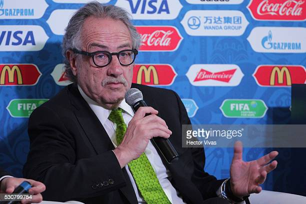 Decio de Maria President of the Mexican Football Federation speaks during the FIFA Confederations Media Event at CAR on May 11 2016 in Mexico City...