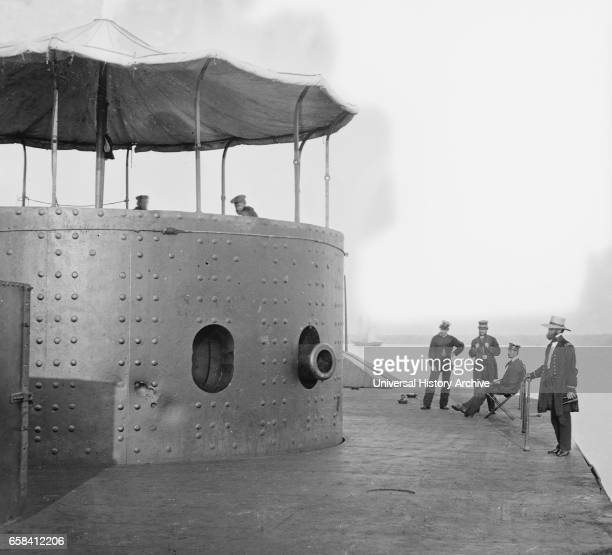 Deck and Turret of USS Monitor seen from Bow James River Virginia by James F Gibson July 1862