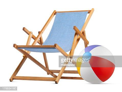 Deck chair with beach ball
