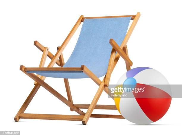 Deck chair with beach ball