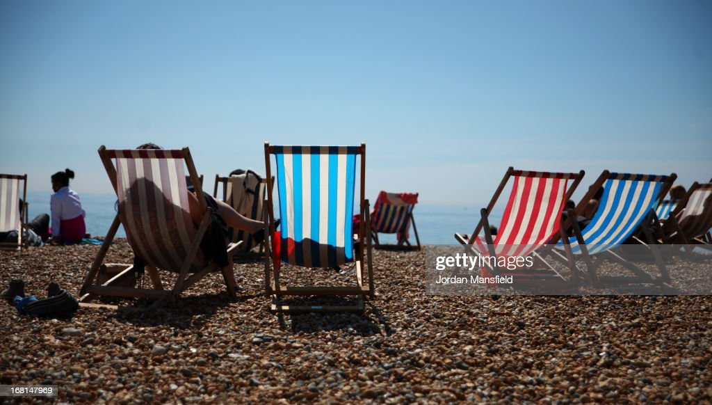 Deck chairs in the sun on Brighton Beach on May 6, 2013 in Brighton, England. Visitors have flocked to Brighton Beach as the Met Office predict the May Day Bank Holiday to be the hottest day of the year so far.