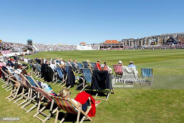 Deck chairs line the boundary as crowds enjoy the sunshine at North Marine Road during day one of the LV County Championship division one match...