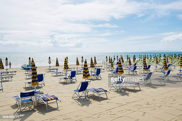 Deck chairs on the beach, Follonica, Province of Grosseto, Tuscany, Italy