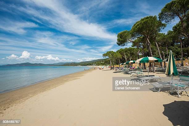 Deck chairs on the beach, Punta Ala, near Castiglione della Pescaia, Province of Grosseto, Tuscany, Italy