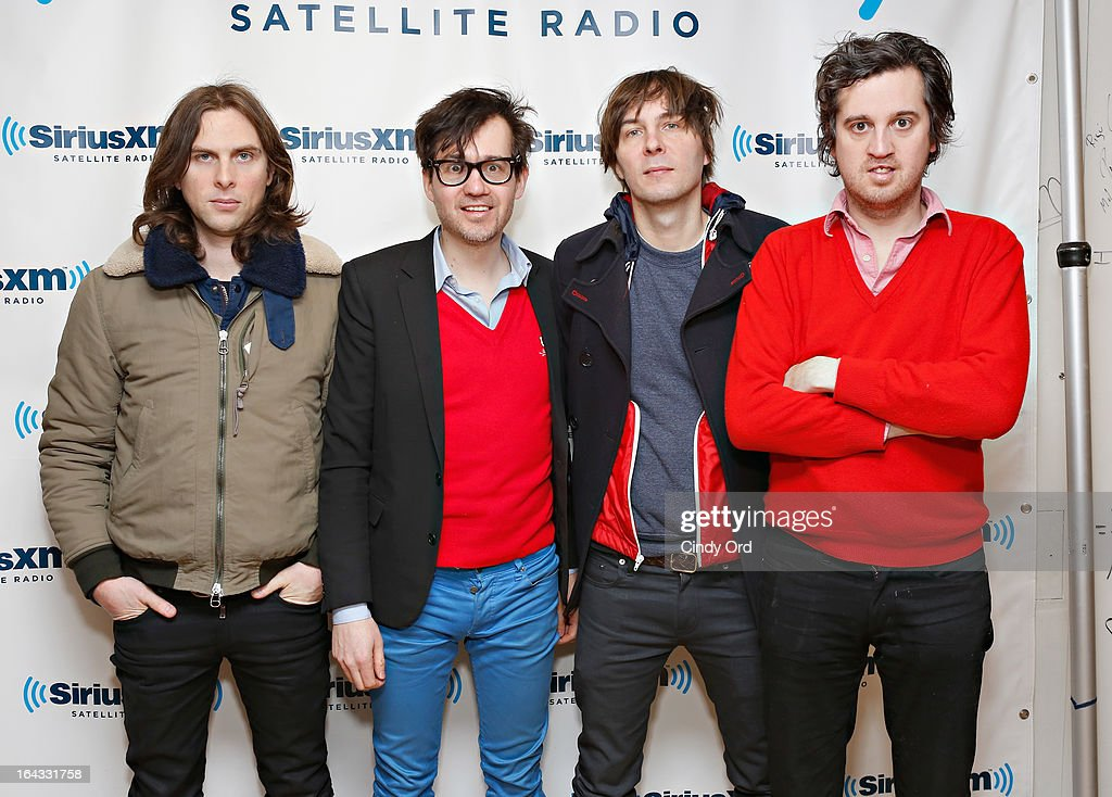 Deck d'Arcy, Laurent Brancowitz, Thomas Mars and Christian Mazzalai of Phoenix visit the SiriusXM Studios on March 22, 2013 in New York City.