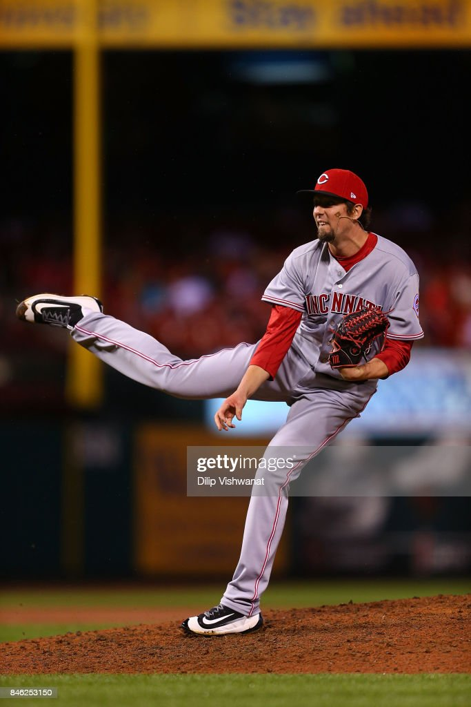 Deck McGuire #68 of the Cincinnati Reds pitches against the St. Louis Cardinals in the seventh inning in his MLB debut at Busch Stadium on September 12, 2017 in St. Louis, Missouri.