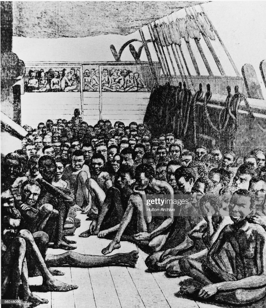 Drawing shows the crowded deck of a slave ship, full of unclothed slaves sitting under a tarp, 1700s.