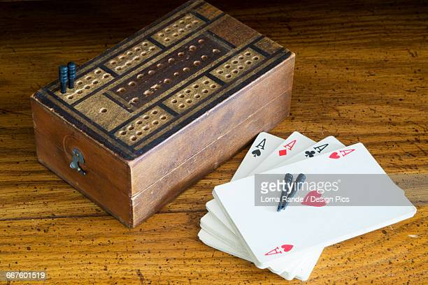 A deck of cards and a board game