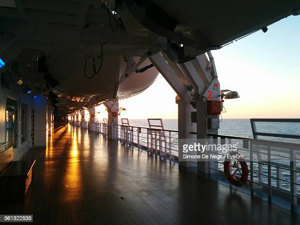 Deck Of Cruise Ship During Sunset