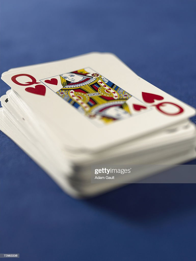 Deck of playing cards in casino, close-up : Stock Photo