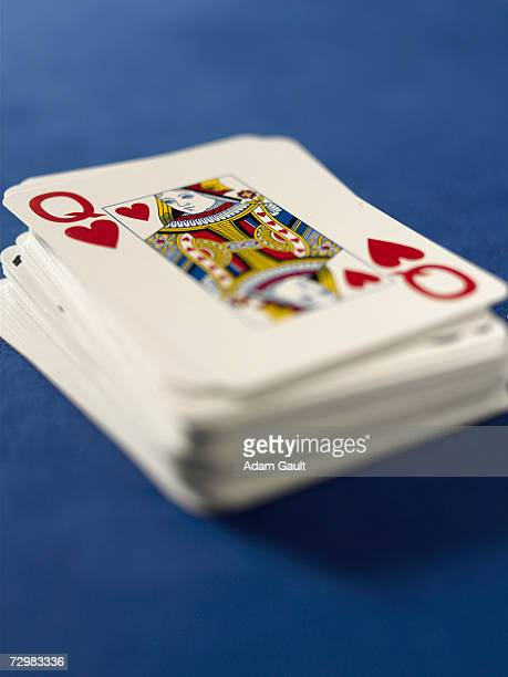 Deck of playing cards in casino, close-up