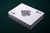 Deck of playing cards with ace on top