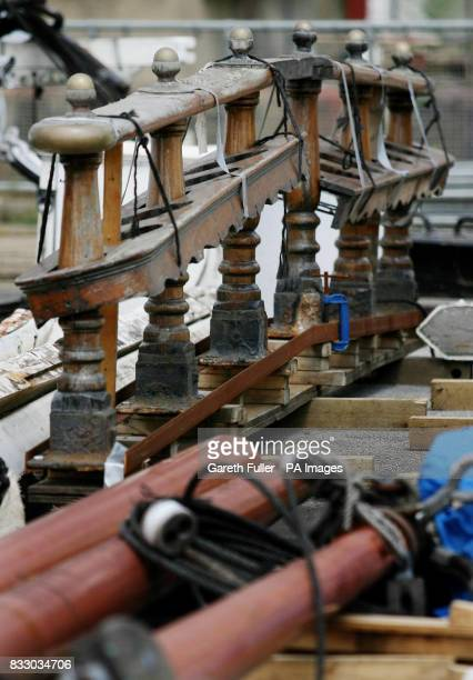Deck parts of the Cutty Sark at the Historic Dockyard in Chatham Kent where they are stored