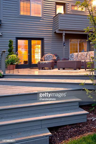 Deck with night window glow