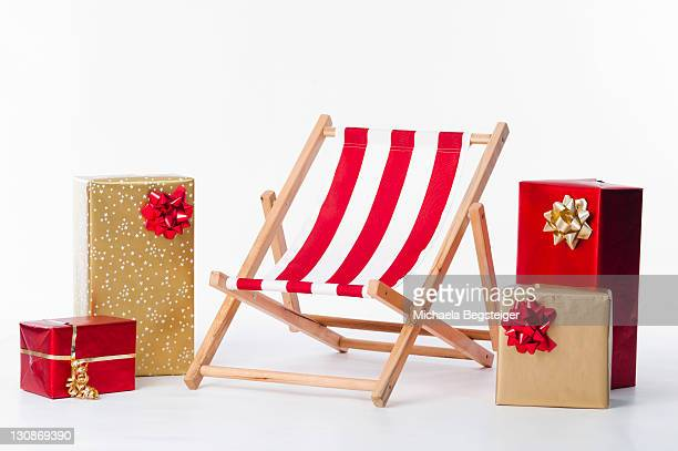 Deckchair and christmas presents
