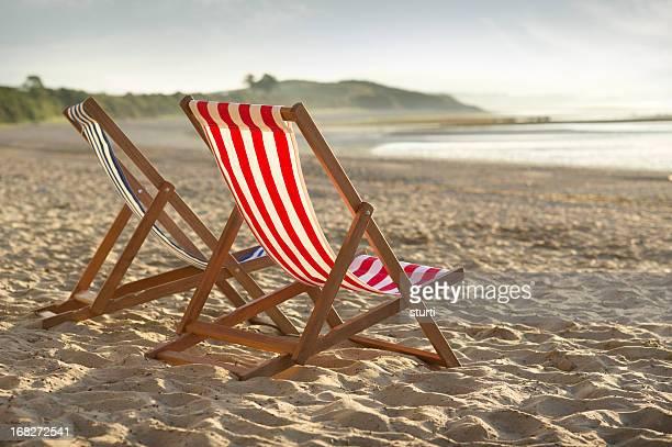 deckchairs at sunrise