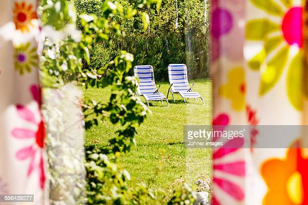Deckchairs in garden