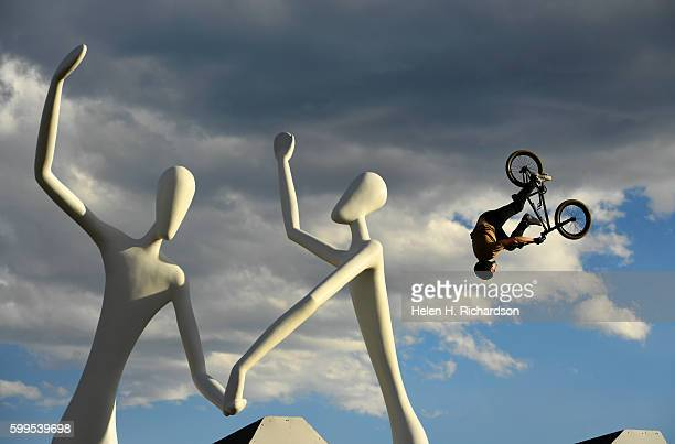 Declan Brooks of Portsmouth UK catches some big air as he competes in the Firstever UCI World Cup for BMX Freestyle Park in the United States the...