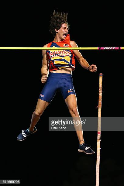 Declan Carruthers of South Australia celebrates a clearance in the Men's Pole Vault u20 event during the Australian Junior Athletics Championships at...