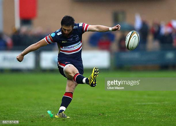 Declan Cusack of Doncaster Knights opens the scoring during the Greene King IPA Championship play off final first leg match between Doncaster Knights...