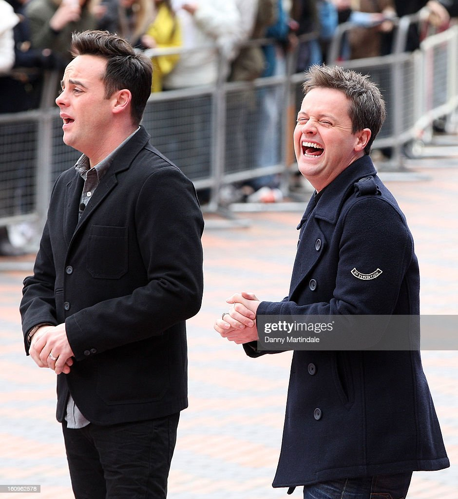 Declan Donnelly and Anthony McPartlin share a joke at the Birmingham auditions of Britain's Got Talent at The ICC on February 8, 2013 in Birmingham, England.