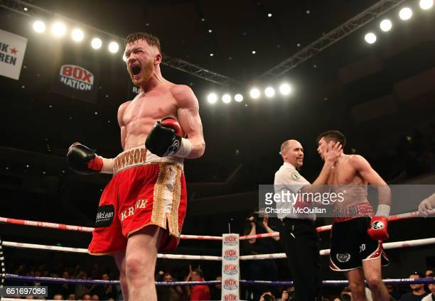 Declan Geraghty and James Tennyson during the Frank Warren Championship Boxing bill at the Waterfront Hall on March 10 2017 in Belfast Northern...