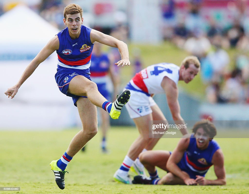 Declan Hamilton kicks the ball during the Western Bulldogs AFL intra-club match at Whitten Oval on February 13, 2016 in Melbourne, Australia.