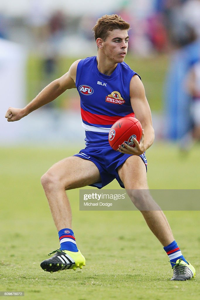 Declan Hamilton looks upfield during the Western Bulldogs AFL intra-club match at Whitten Oval on February 13, 2016 in Melbourne, Australia.