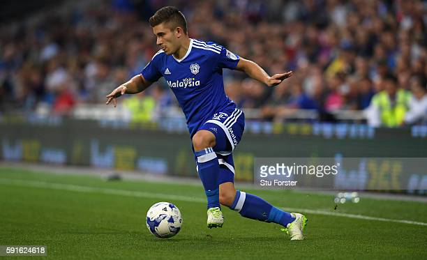 Declan John of Cardiff in action during the Sky Bet Championship match between Cardiff City and Blackburn Rovers at Cardiff City Stadium on August 17...