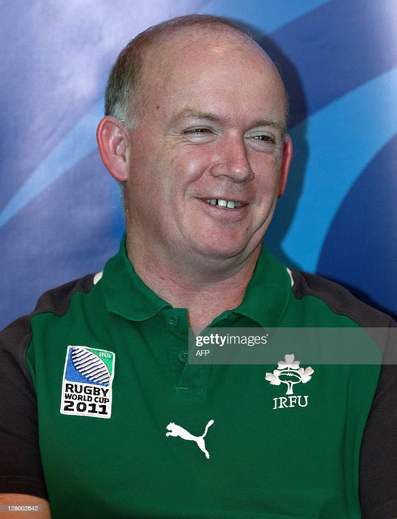 Declan Kidney, the head coach of Ireland attends a team announcement, three days out from their 2011 Rugby World Cup quarter final against Wales, at a hotel in Wellington on October 5, 2011. AFP PHOTO / Marty Melville