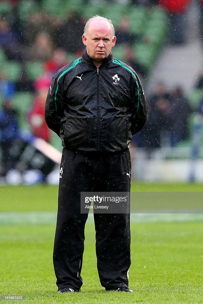 <a gi-track='captionPersonalityLinkClicked' href=/galleries/search?phrase=Declan+Kidney&family=editorial&specificpeople=626890 ng-click='$event.stopPropagation()'>Declan Kidney</a> the Head Coach of Ireland looks on prior to kickoff during the RBS Six Nations match between Ireland and England at Aviva Stadium on February 10, 2013 in Dublin, Ireland.