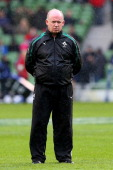 Declan Kidney the Head Coach of Ireland looks on prior to kickoff during the RBS Six Nations match between Ireland and England at Aviva Stadium on...