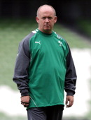 Declan Kidney the Ireland coach looks on during the Ireland captain's run held at the Aviva Stadium on August 26 2011 in Dublin Ireland