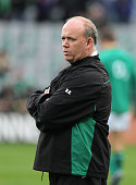 Declan Kidney the Ireland coach looks on during the rugby union international match between Ireland and Australia at Croke Park on November 15 2009...