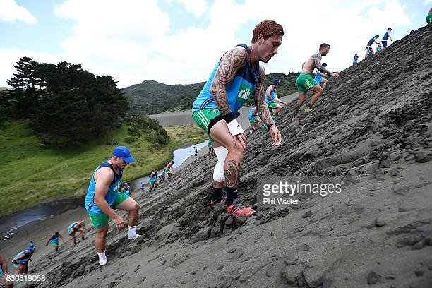 Declan O'Donnell of the Blues grinds up the Bethells Beach sand dunes during an Auckland Blues Super Rugby preseason training camp on December 21...