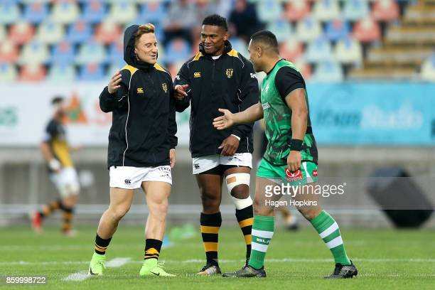 Declan O'Donnell Waisake Naholo of Taranaki and Ngani Laumape of Manawatu greet each other during the round nine Mitre 10 Cup and Ranfurly Shield...