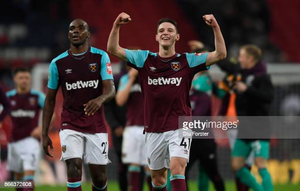 Declan Rice of West Ham United celebrates his side's win following the Carabao Cup Fourth Round match between Tottenham Hotspur and West Ham United...