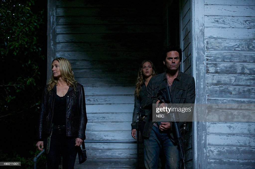 REVOLUTION -- 'Declaration of Independence' Episode 222 -- Pictured: (l-r) <a gi-track='captionPersonalityLinkClicked' href=/galleries/search?phrase=Elizabeth+Mitchell&family=editorial&specificpeople=2436267 ng-click='$event.stopPropagation()'>Elizabeth Mitchell</a> as Rachel Matheson, <a gi-track='captionPersonalityLinkClicked' href=/galleries/search?phrase=Tracy+Spiridakos&family=editorial&specificpeople=8954855 ng-click='$event.stopPropagation()'>Tracy Spiridakos</a> as Charlie Matheson, <a gi-track='captionPersonalityLinkClicked' href=/galleries/search?phrase=Billy+Burke&family=editorial&specificpeople=602361 ng-click='$event.stopPropagation()'>Billy Burke</a> as Miles Matheson --