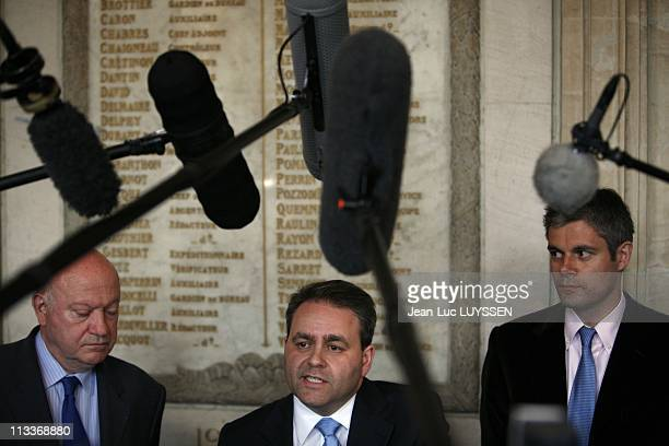 Declaration Of Xavier Bertrand After He Had Presented The Social Partners With The Reform Of The Pensions In Paris France On April 28 2008 Andre...