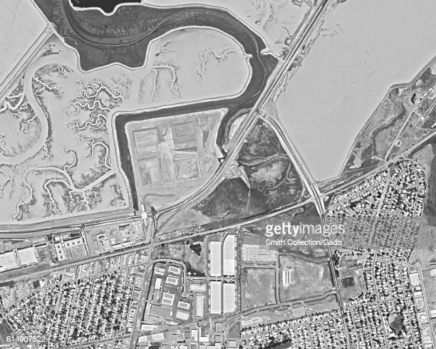 Declassified reconnaissance satellite view taken by the Central Intelligence Agency's Keyhole spy satellite of the Silicon Valley town of Menlo Park...