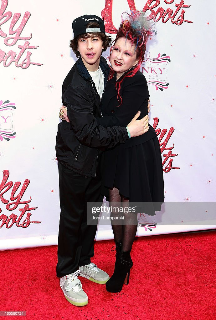 Declyn Wallace Thornton Lauper and <a gi-track='captionPersonalityLinkClicked' href=/galleries/search?phrase=Cyndi+Lauper&family=editorial&specificpeople=171290 ng-click='$event.stopPropagation()'>Cyndi Lauper</a> attend the 'Kinky Boots' Broadway Opening Night at the Al Hirschfeld Theatre on April 4, 2013 in New York City.