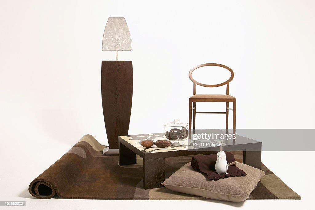 lampadaire en wengu massif maillechort et abat jour iridescent claude de wulf design table - Abat Jour Color
