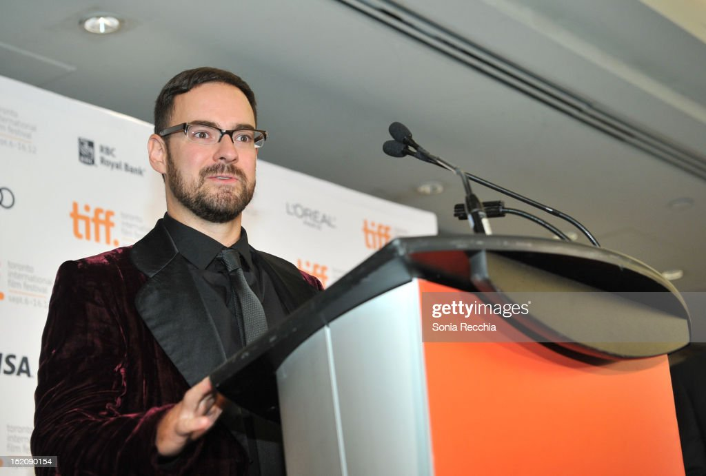 Deco Dawson, winner of the Award for Best Canadian Short Film for 'Keep a Modest Head', speaks at the 37th Toronto International Film Festival Award Winner Ceremony held at the InterContinental Toronto Center Hotel on September 16, 2012 in Toronto, Canada.