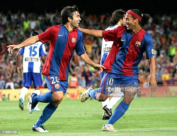 Deco of Barcelona celebrates his goal with Ronaldinho during a Supercup 2nd leg match against Espanyol at the Camp Nou stadium on August 20 2006 in...