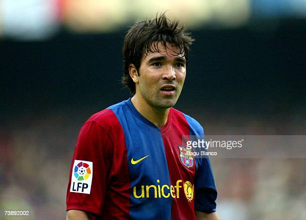 Deco of Barcelona during the La Liga match between FC Barcelona and Mallorca on April 15 played at the Camp Nou stadium in Barcelona Spain