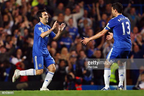 Deco of Chelsea celebrates with his team mate Michael Ballack of Chelsea after Deco scored during the Carling Cup 4th Round match between Chelsea and...